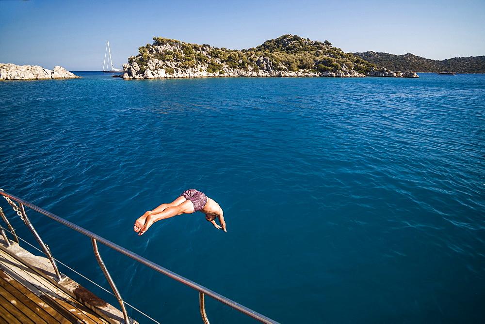 Diving off a Gulet sailing boat cruise in Gokkaya Bay, Antalya Province, Lycia, Anatolia, Mediterranean, Turkey, Asia Minor, Eurasia - 1109-3433
