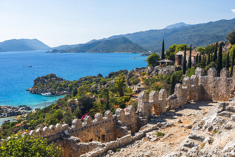 View from Simena Castle over Kekova Bay and Island, Antalya Province, Lycia, Anatolia, Mediterranean Sea, Turkey, Asia Minor, Eurasia