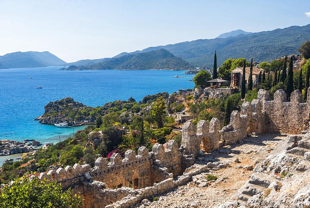 View from Simena Castle over Kekova Bay and Island, Antalya Province, Lycia, Anatolia, Mediterranean Sea, Turkey, Asia Minor, Eurasia - 1109-3439