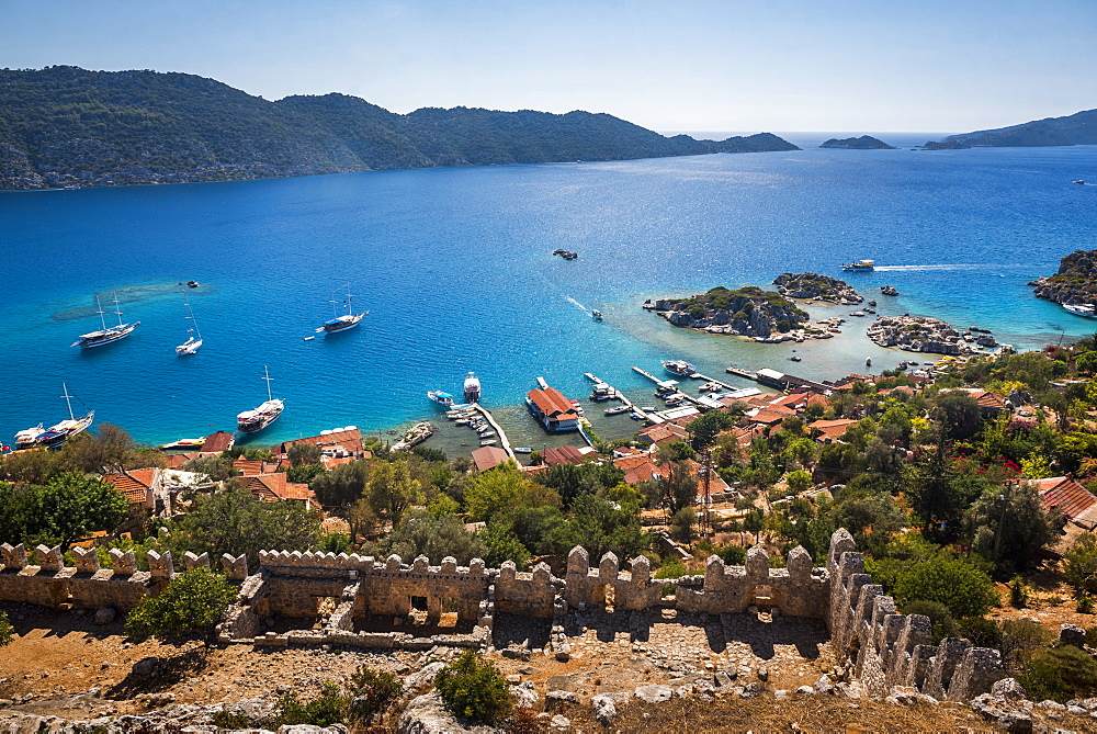 Sunken City of Kekova seen from Simena Castle, Antalya Province, Lycia, Anatolia, Mediterranean Sea, Turkey, Asia Minor, Eurasia