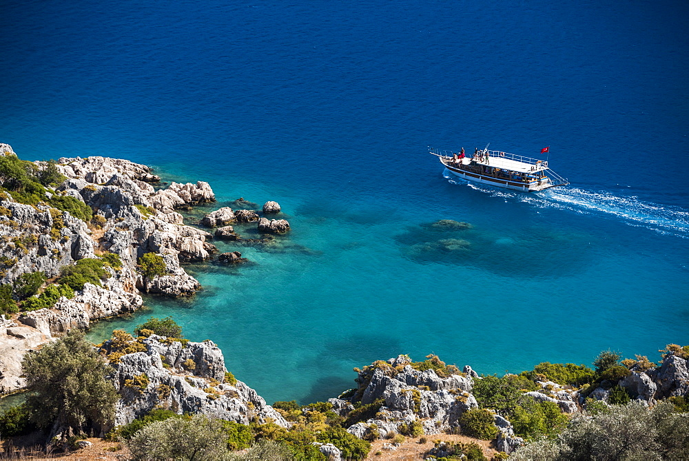 Gulet sailing boat in Kekova Bay, Antalya Province, Lycia, Anatolia, Mediterranean Sea, Turkey, Asia Minor, Eurasia