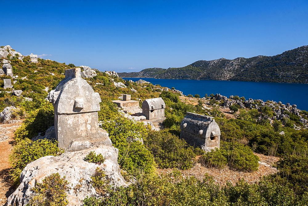 Lycian Sarcophagus, Sunken City of Kekova, Antalya Province, Lycia, Anatolia, Mediterranean Sea, Turkey, Asia Minor, Eurasia - 1109-3445