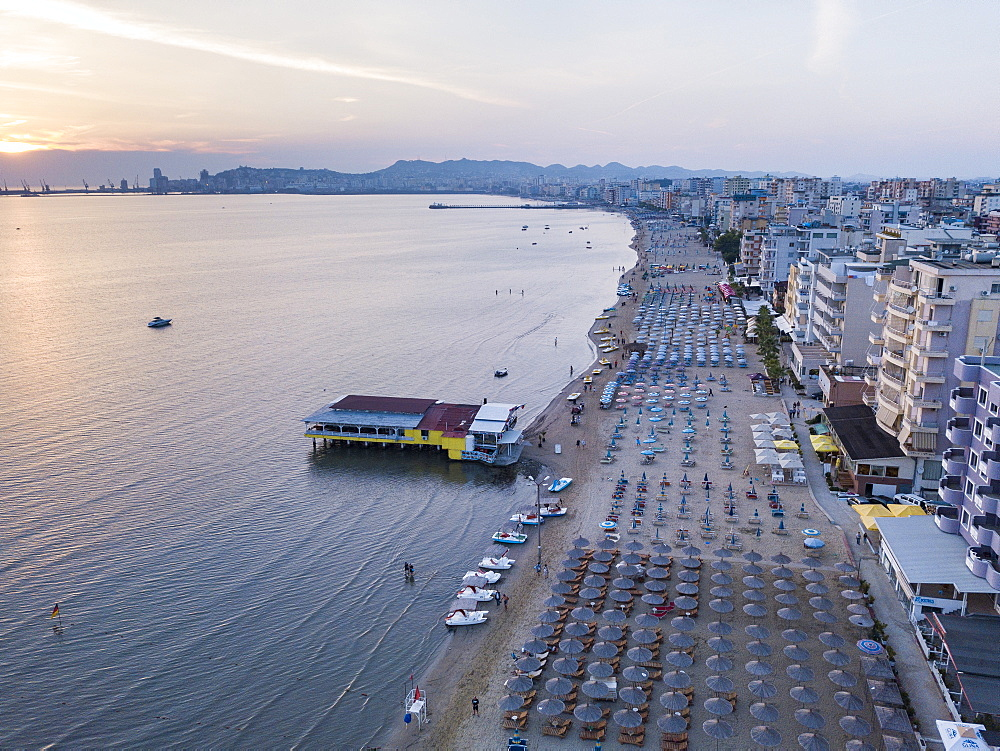 Beach at sunset, Durres (aka Epidamnos and Dyrrachium), Adriatic Coast, Albania, Europe drone