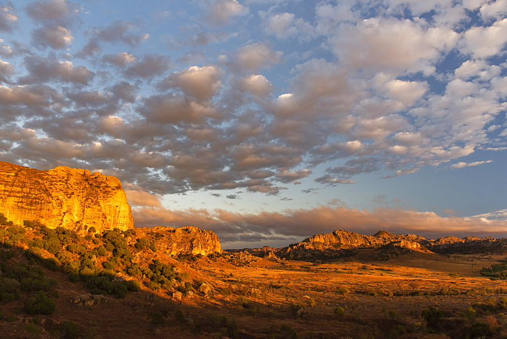 Isalo National Park landscape at sunrise, Ihorombe Region, Madagascar, Africa - 1109-3564