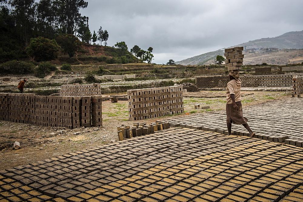 Brick workers near Ranomafana, Haute Matsiatra Region, Madagascar, Africa - 1109-3578