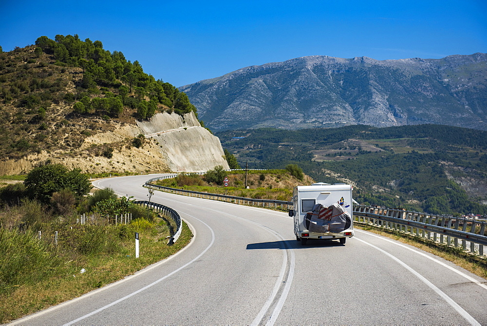Driving a caravan through Albania, Europe - 1109-3591