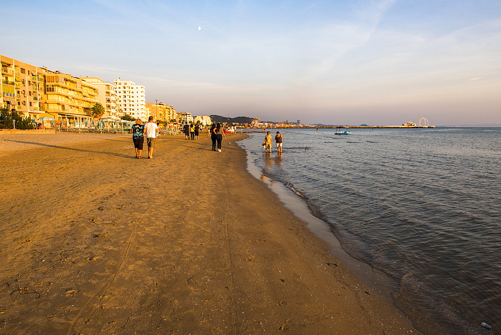 Beach at sunset, Durres (Epidamnos and Dyrrachium), Adriatic Coast, Albania, Europe - 1109-3592