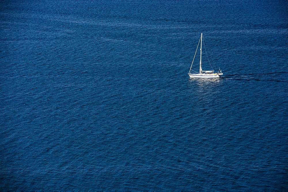 Yacht at sea off of Corfu, Greece, Europe