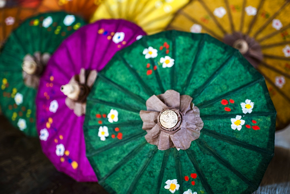 Traditional decorated sun umbrellas at Inle Lake, Shan State, Myanmar (Burma) - 1109-3668