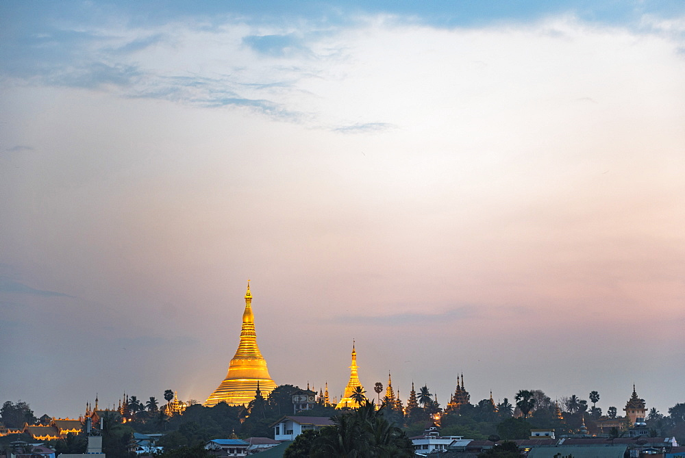 Shwedagon Pagoda at sunset, Yangon (Rangoon), Myanmar (Burma) - 1109-3703