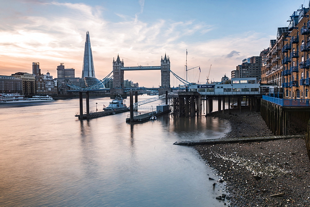 Tower Bridge and the Shard at sunset, seen behind the River Thames, Tower Hamlets, London, England