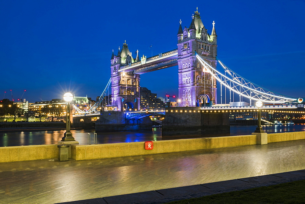 Tower Bridge at night, Southwark, London, England, United Kingdom, Europe