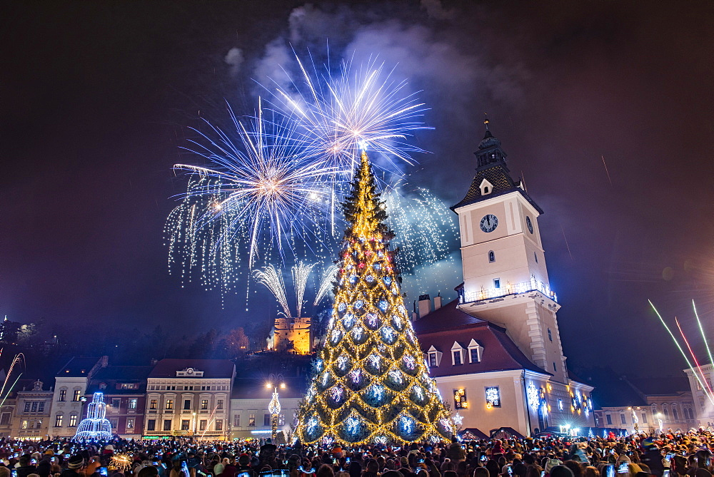 Fireworks over Brasov main square on New Years Eve, Brasov County, Romania