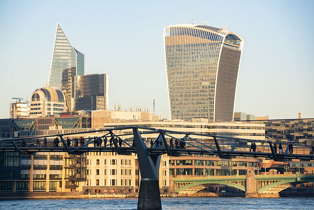 Millennium Bridge and Walkie Talkie building in The City of London, London, England
