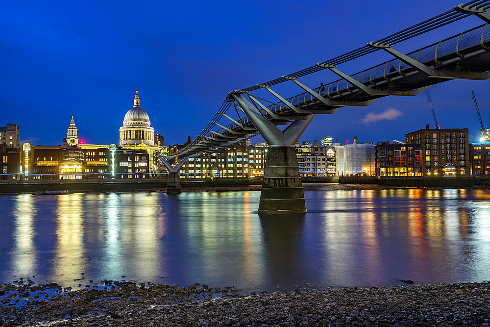 St Pauls Cathedral and Millennium Bridge at night, City of London, London, England