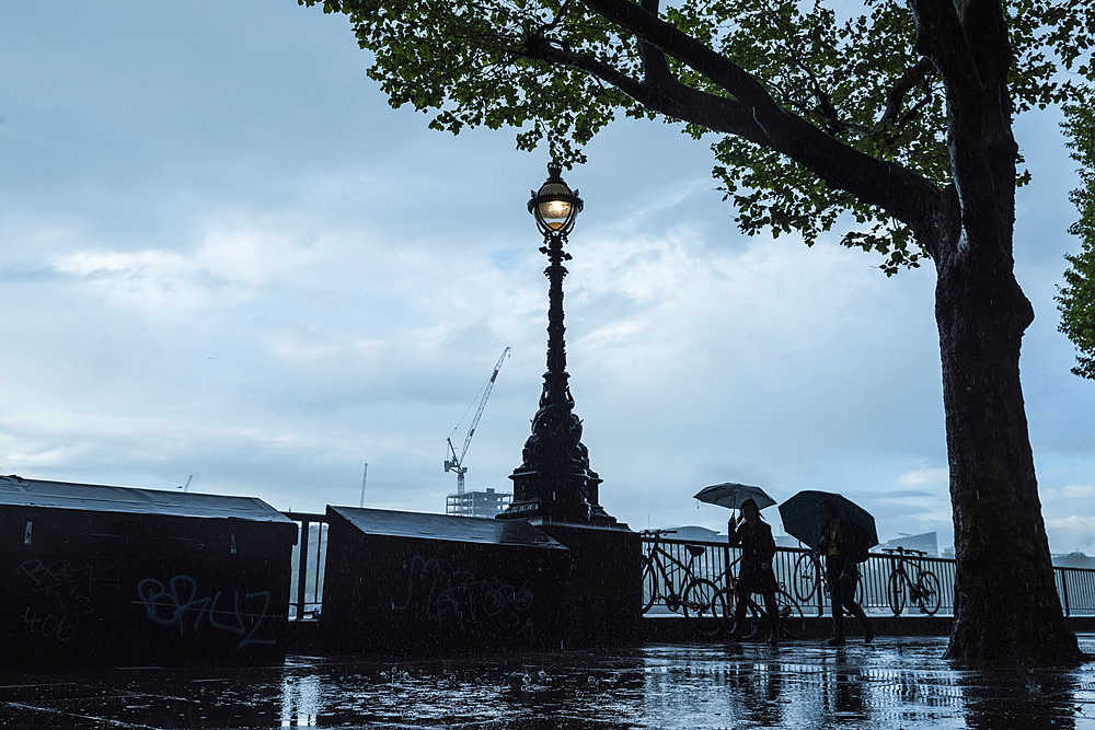 South Bank in the rain, London, England