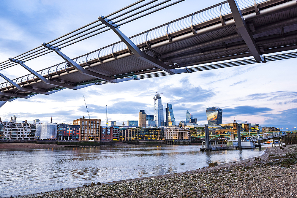 The City of London and Millennium Bridge, London, England, United Kingdom, Europe