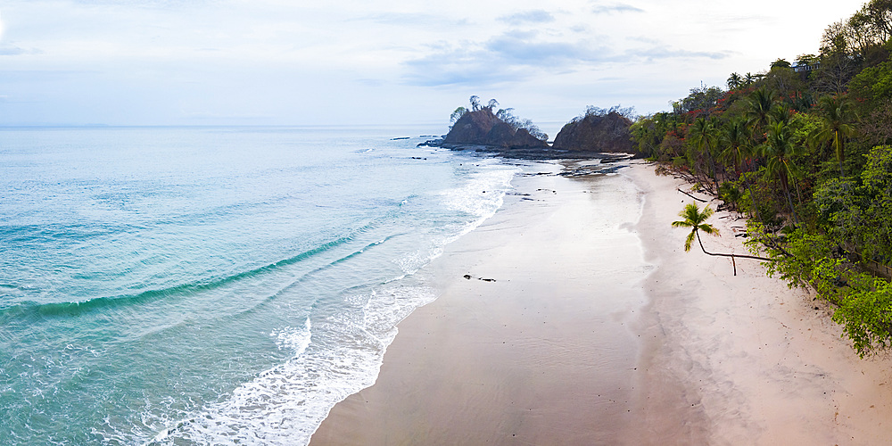 Drone view of Punta Leona Beach, Puntarenas Province, Pacific Coast of Costa Rica, Central America