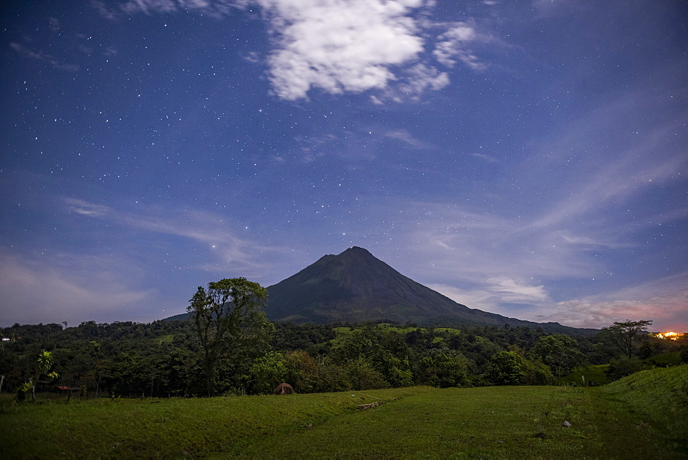 Arenal Volcano under stars at night, near La Fortuna, Alajuela Province, Costa Rica