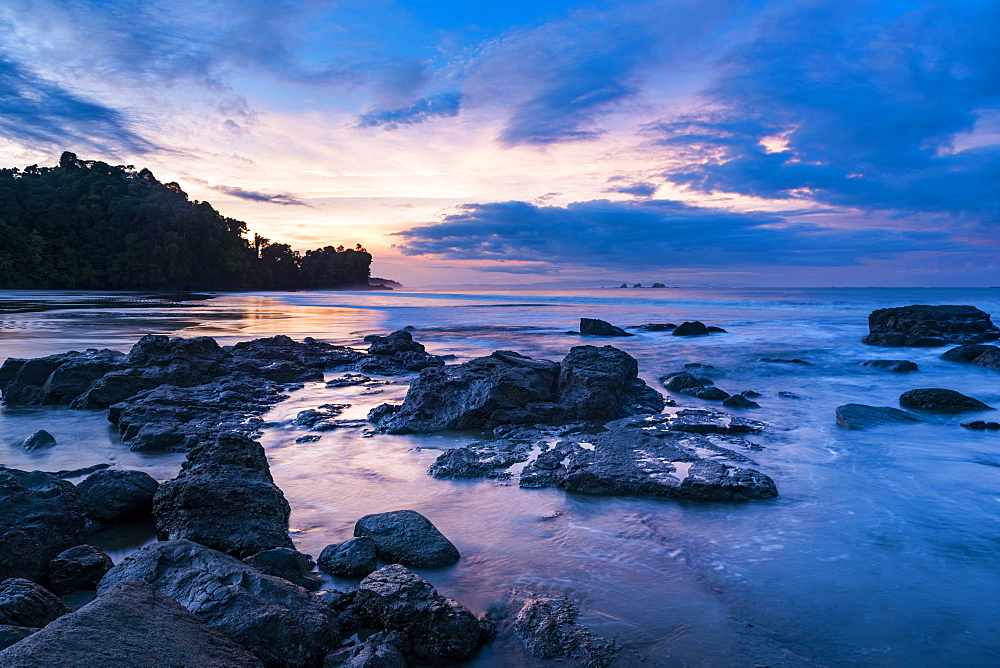 Sunrise at Playa Arco Beach, Uvita, Marino Ballena National Park, Puntarenas Province, Pacific Coast of Costa Rica, Central America