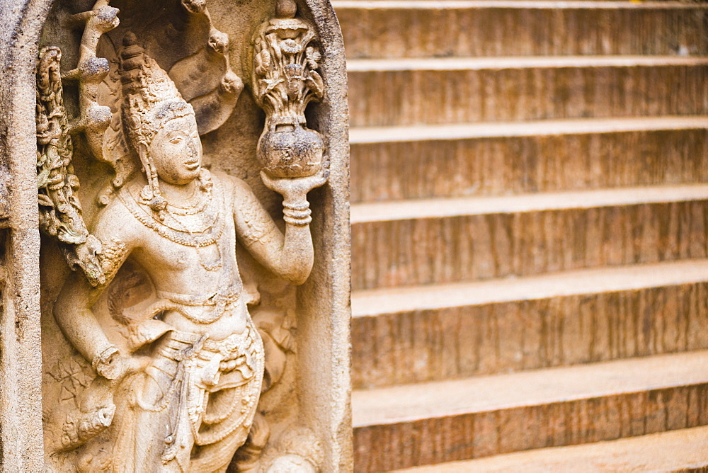 Guardian statue carving at Sri Maha Bodhi in the Mahavihara (The Great Monastery), Anuradhapura, UNESCO World Heritage Site, Sri Lanka, Asia