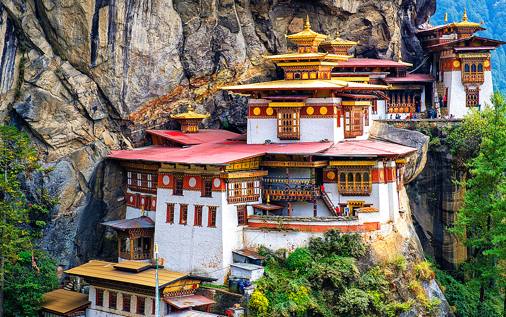 Tiger's Nest Monastery, is a sacred Vajrayana Himalayan Buddhist site located in the upper Paro valley in Bhutan. - 1111-168
