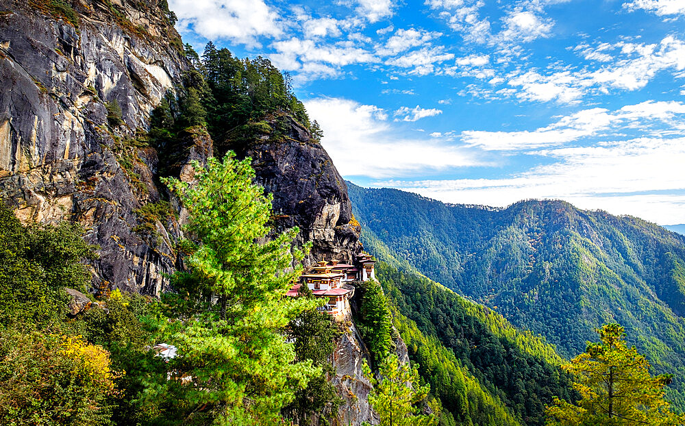 Tiger's Nest Monastery, a sacred Vajrayana Himalayan Buddhist site located in the upper Paro valley, Bhutan - 1111-169