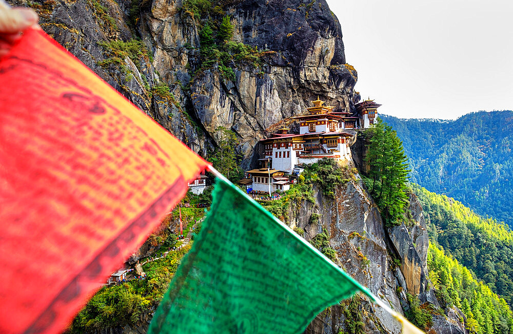 Tiger's Nest Monastery, a sacred Vajrayana Himalayan Buddhist site located in the upper Paro valley, Bhutan - 1111-170