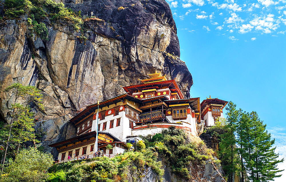 Tiger's Nest Monastery, a sacred Vajrayana Himalayan Buddhist site located in the upper Paro valley, Bhutan - 1111-171