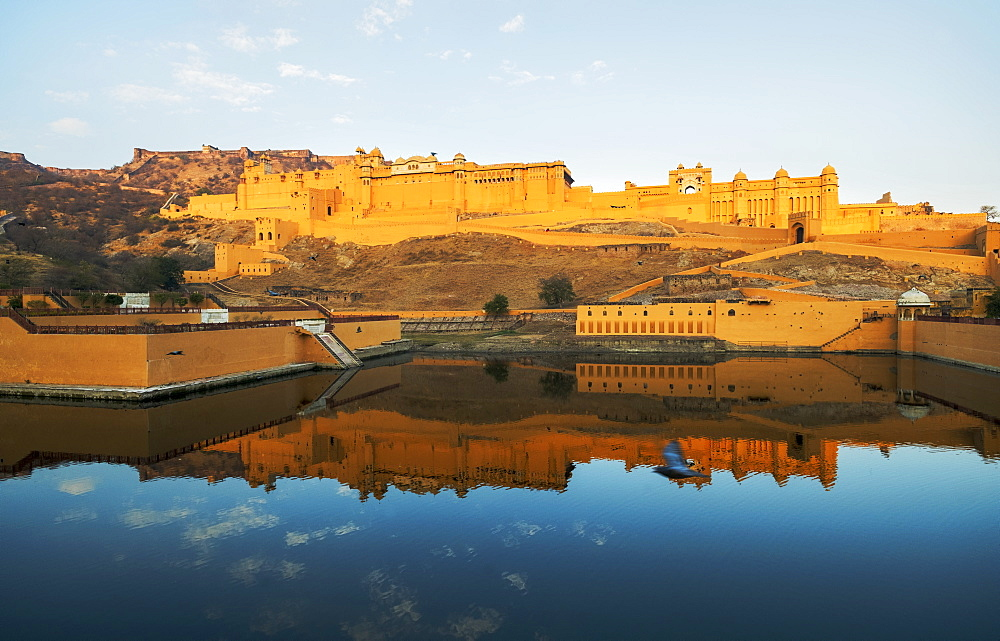Amer Fort at sunrise in Amer, India, Asia