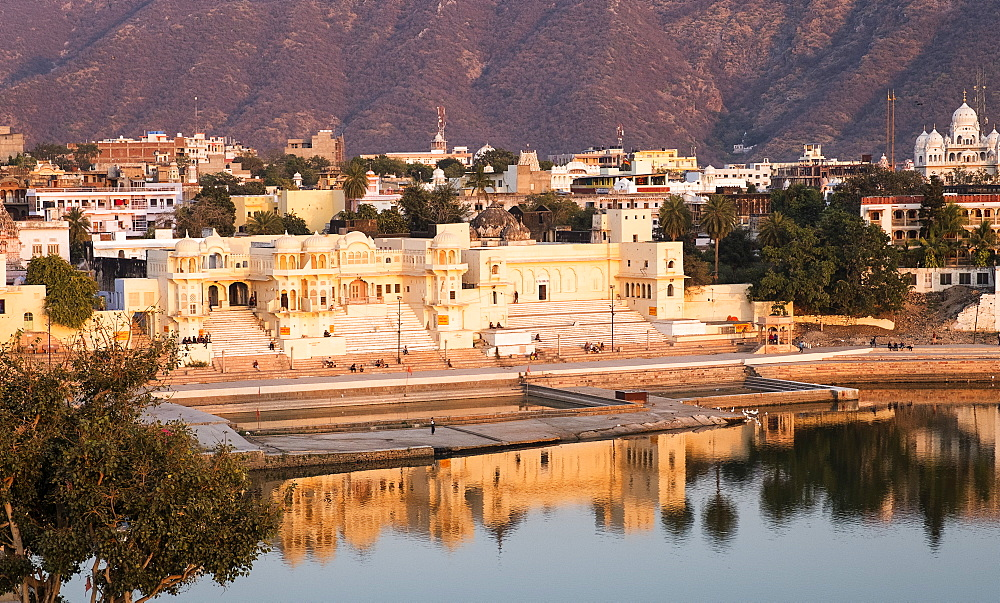 Pushkar town by Pushkar Lake at sunset in India, Asia