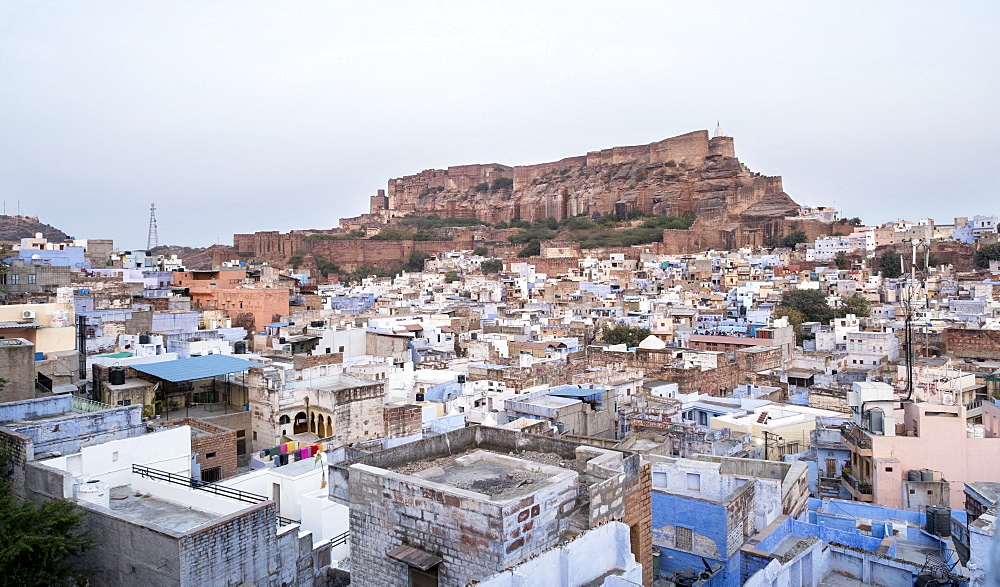 Landscape, Blue City against the backdrop of Mehrangarh Fort.