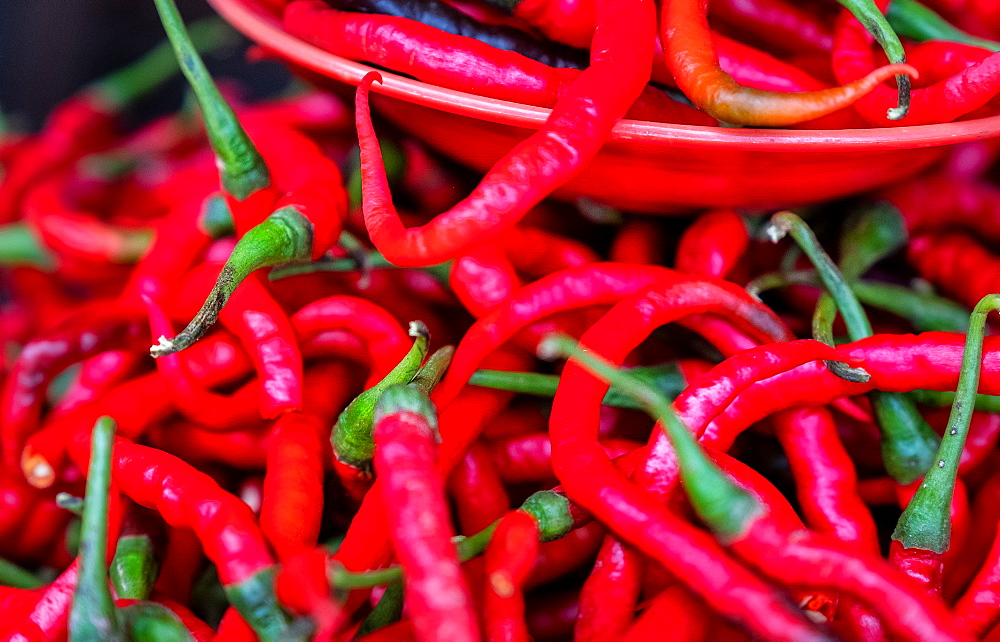 Hot fresh red chilies for sale at market, Togian Islands, Indonesia, Southeast Asia, Asia