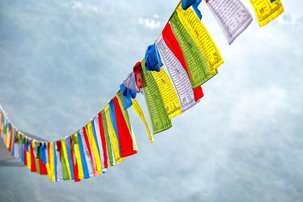 Buddhist prayer flags, Bhutan, Asia