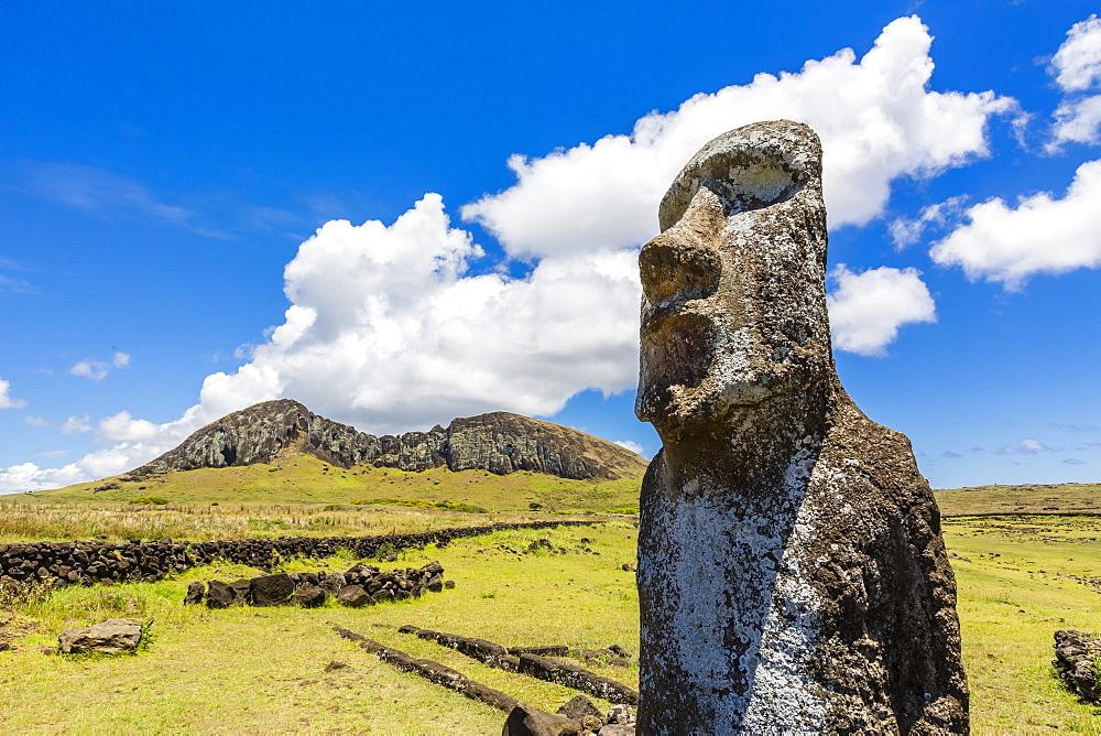 Single moai statue guards the entrance at the 15 moai restored ceremonial site of Ahu Tongariki on Easter Island (Isla de Pascua) (Rapa Nui), UNESCO World Heritage Site, Chile, South America