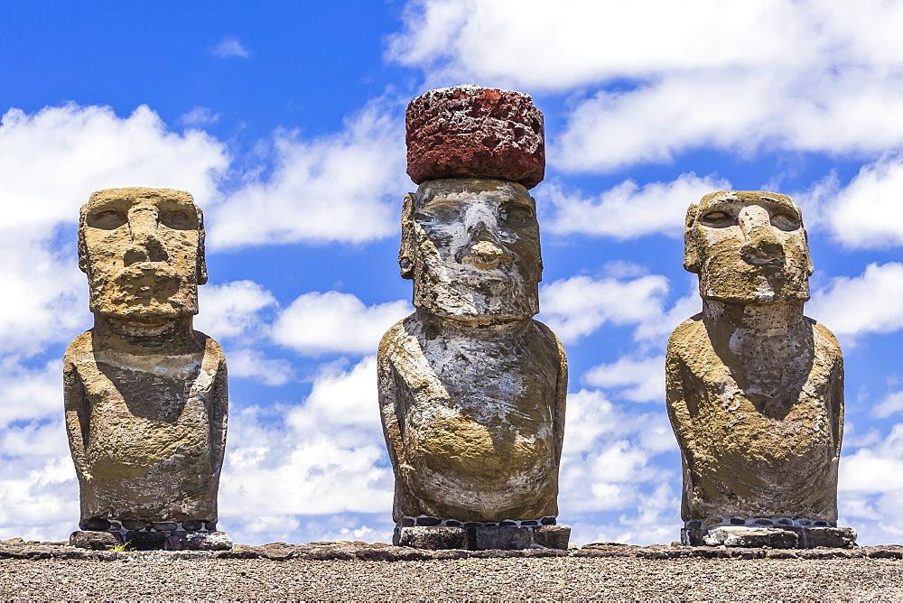 Details of moai at the 15 moai restored ceremonial site of Ahu Tongariki on Easter Island (Isla de Pascua) (Rapa Nui), UNESCO World Heritage Site, Chile, South America