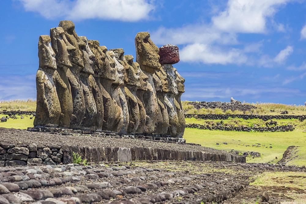 Fifteen moai at the restored ceremonial site of Ahu Tongariki on Easter Island (Isla de Pascua) (Rapa Nui), UNESCO World Heritage Site, Chile, South America