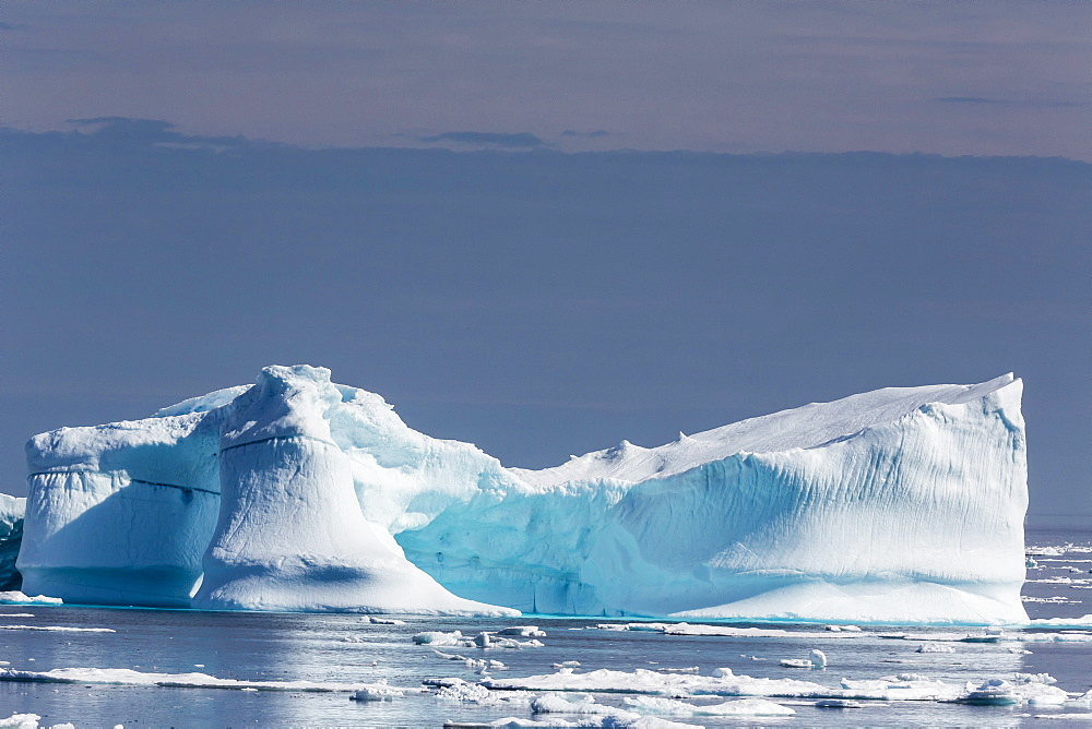Icebergs and brash ice near the Cumberland Peninsula, Baffin Island, Nunavut, Canada, North America