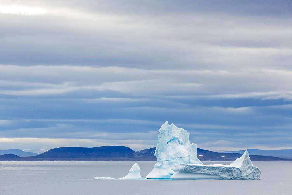 Pinnacled iceberg in Isabella Bay, Baffin Island, Nunavut, Canada, North America