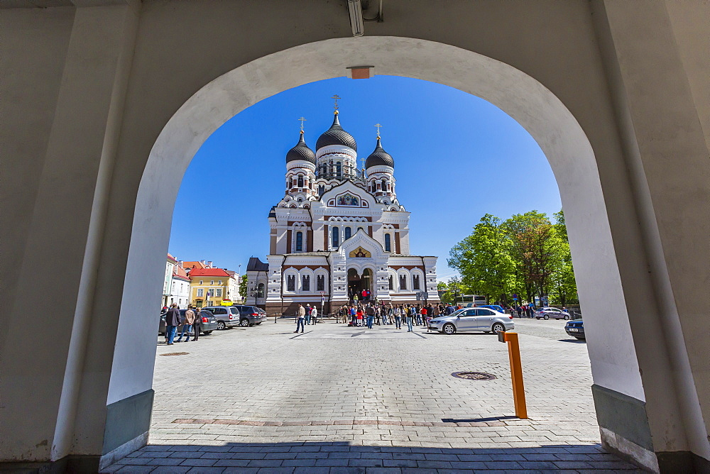 Exterior view of an Orthodox church in the capital city of Tallinn, Estonia, Europe