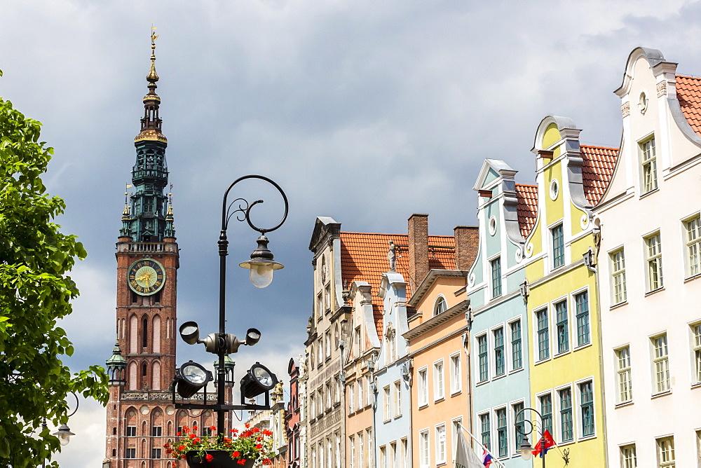 The Long Market, Dlugi Targ, with town hall clock, Gdansk, Poland, Europe