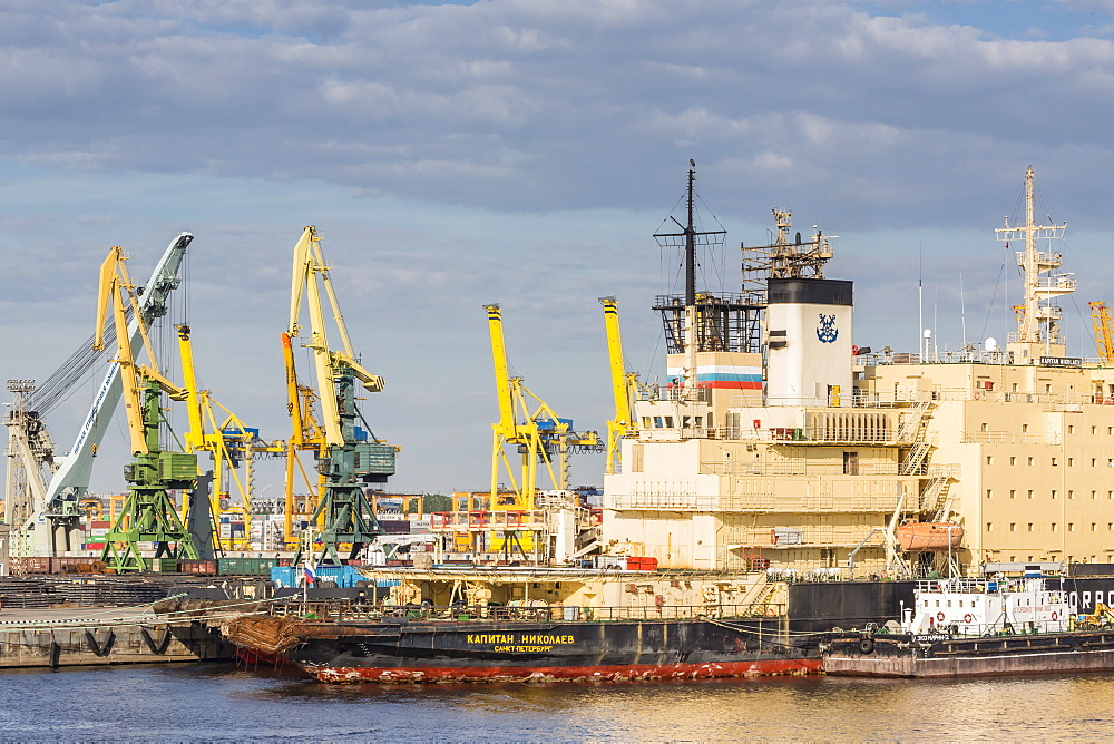 The busy shipyards in the Sea Port of St. Petersburg, on the Neva River, Russia, Europe
