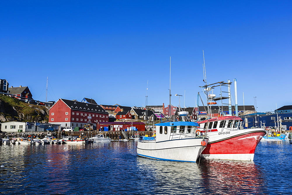 Commercial fishing and whaling boats line the busy inner harbor in the town of Ilulissat, Greenland, Polar Regions