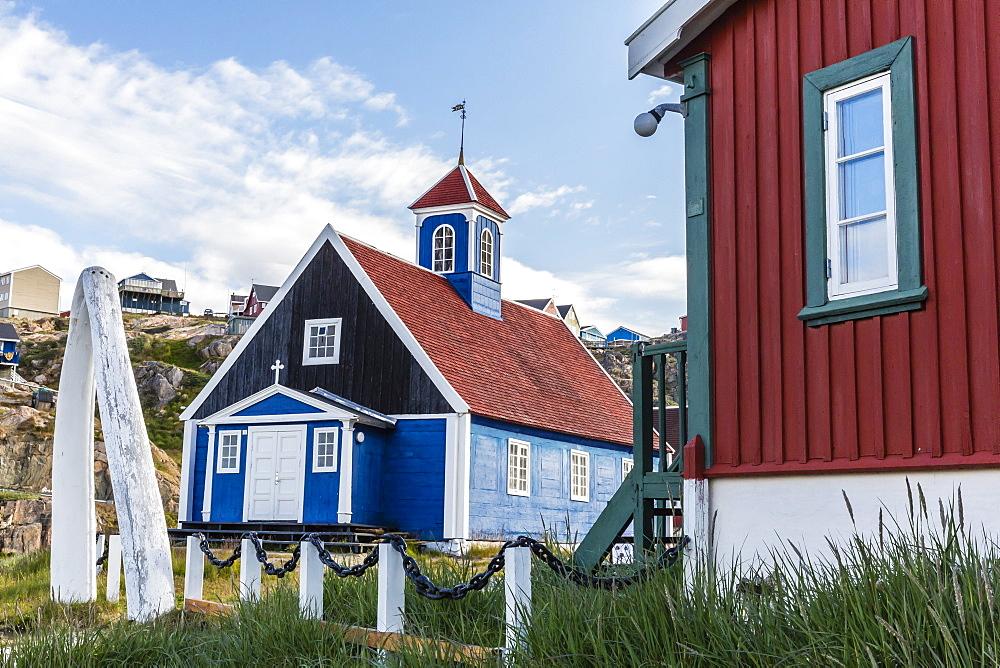 Whale jawbone archway to church in Sisimiut, Greenland, Polar Regions