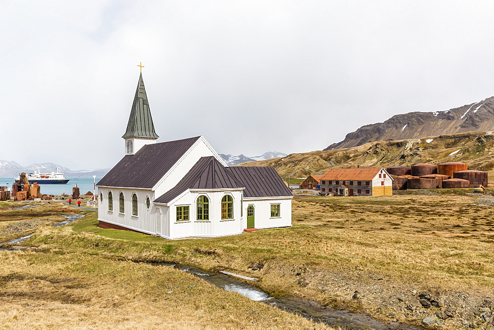 The abandoned and recently restored whaling station at Grytviken, South Georgia, UK Overseas Protectorate, Polar Regions