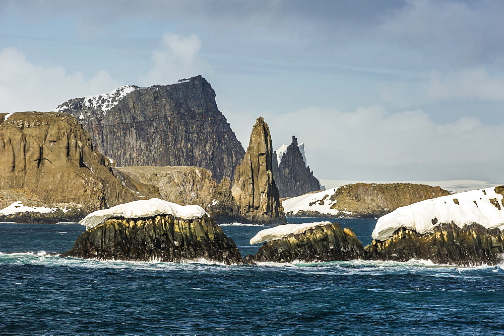 Dramatic reefs and islets in English Strait, South Shetland Island Group, Drake Passage, Antarctica, Polar Regions