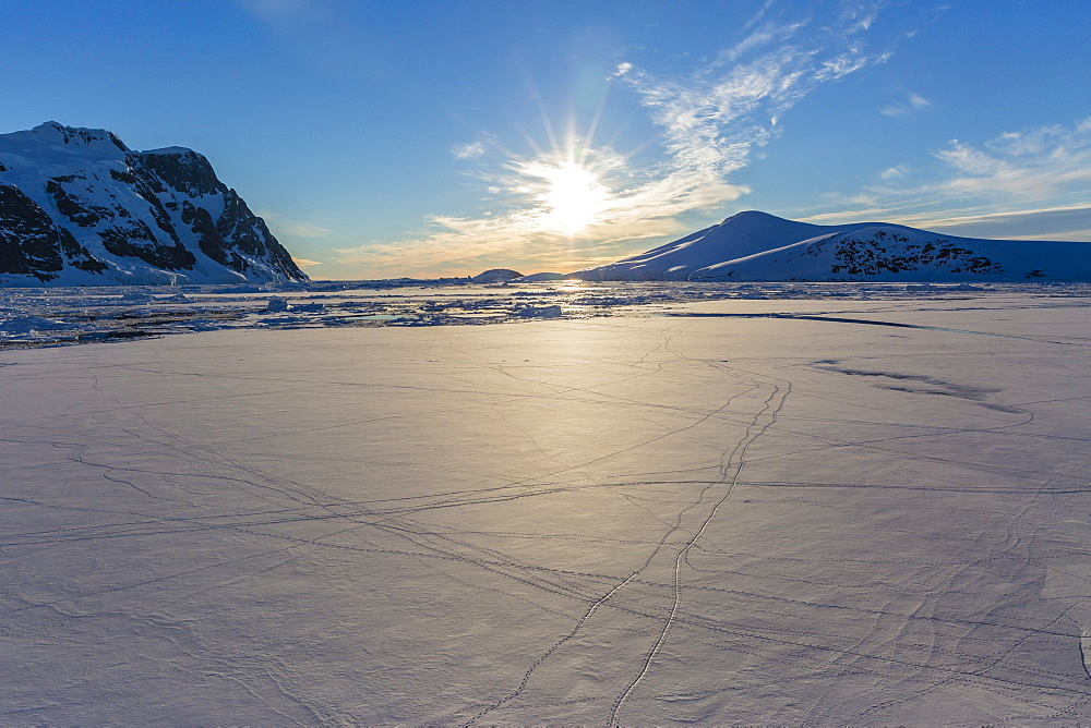 Penguin tracks left on first year sea ice in the Lemaire Channel, Antarctica, Polar Regions