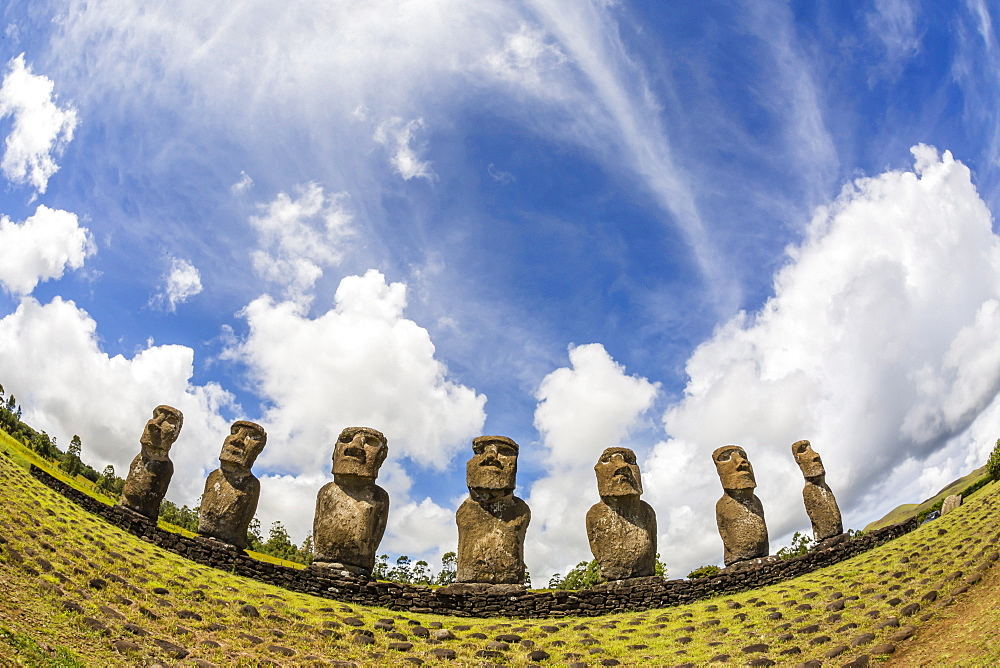 Seven Moai at Ahu Akivi, the first restored altar, Rapa Nui National Park, UNESCO World Heritage Site, Easter Island (Isla de Pascua), Chile, South America