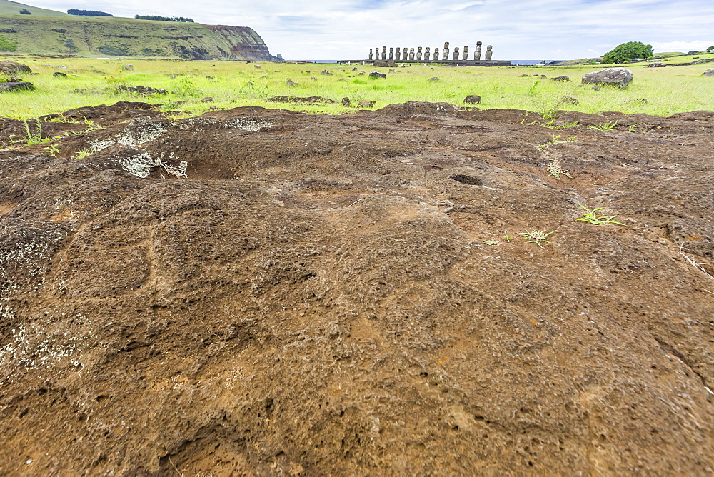 Petroglyphs carved in the lava at the 15 moai restored ceremonial site of Ahu Tongariki, Rapa Nui National Park, UNESCO World Heritage Site, Easter Island (Isla de Pascua), Chile, South America