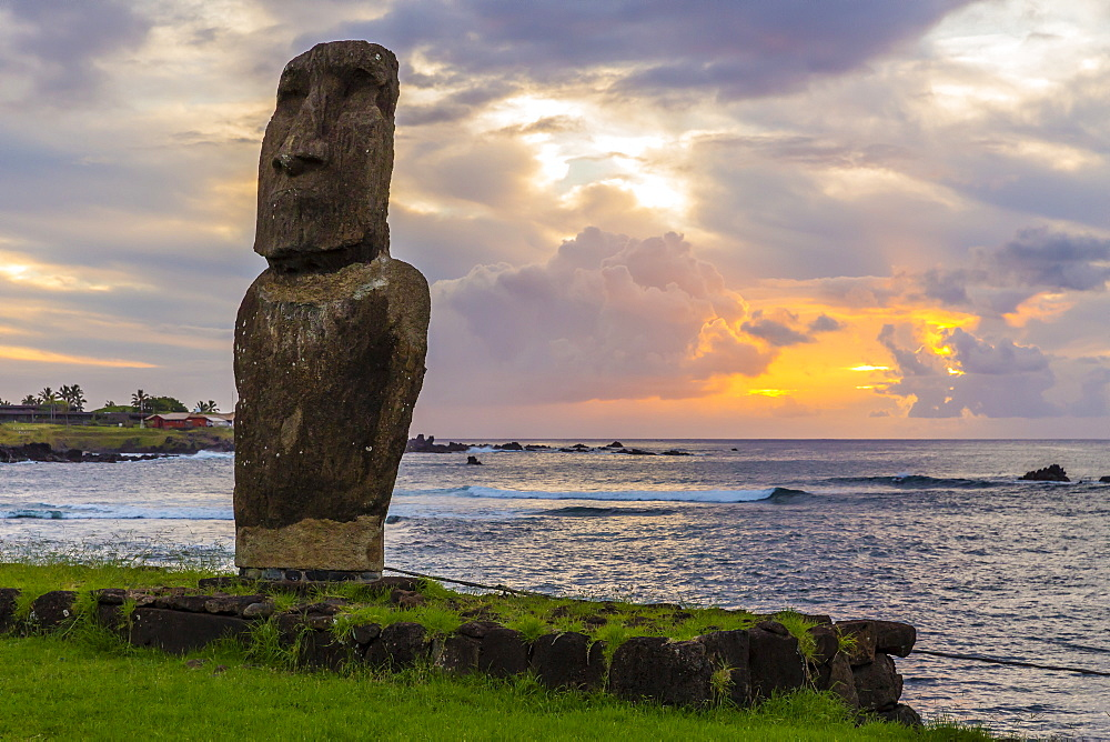 A single moai at Fisherman's Harbor in the town of Hanga Roa, Rapa Nui National Park, UNESCO World Heritage Site, Easter Island (Isla de Pascua), Chile, South America